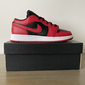 """Air Jordan 1 Low GS """" Reverse Bred """" Banned Black Red Size 7Y = Women's 8.5"""