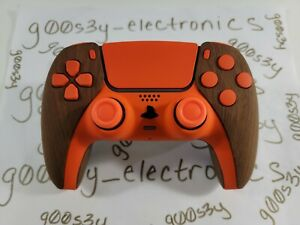 New Wood Styled Sony PS5 DualSense Wireless Controller w/ Orange Accents