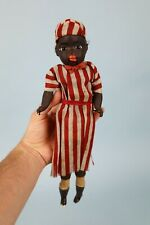 """13"""" Antique Composition Black Doll Push Chest and Mouth Opens"""