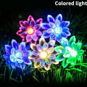 50 LED Solar Powered Flower Fairy Garden Light String Outdoor Wedding Party Lamp