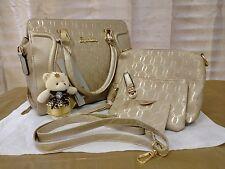 CHAMPAGNE GOLD SHOULDER BAG PURSE, MAKEUP BAG, CARD WALLET & BEAR KEYCHAIN SET