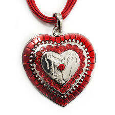 Rojo Esmalte Corazón de Cristal Collar Colgante de cordón de algodón (Tono Plata) - 40cm longitud