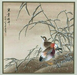 WINTER SNOW BIRDS ORIGINAL ASIAN-JAPANESE CHINESE PAINTING VINTAGE ORIGINAL ART