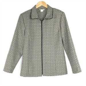 Blair Zip Front Collared Career Jacket Women Size Large