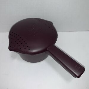PAMPERED CHEF 4 C 1 Qt MICRO COOKER POT MICROWAVE STEAMER STRAINER RICE ++ Brown