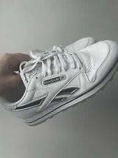 REEBOK CLASSIC TRAINERS SNEAKERS LEATHER LOW WHITE SILVER NAVY UK 8 MINT RARE