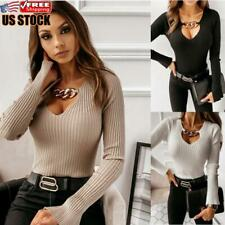 Women's V Neck Long Sleeve T-Shirt Tops Ladies Knitted Slim Fit Casual Blouse