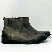 Zara Man Mens Chelsea Zip Up Boots Green Grey Leather EU 44 US 11 Portugal
