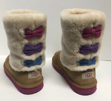 UGG Australia Boots Tan, Off White, Multi Color Bows Big Girls Sz 4