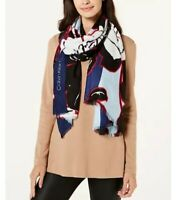 Calvin Klein Bold Graphic Floral-Print Scarf Beautiful Bold Red Blue Black