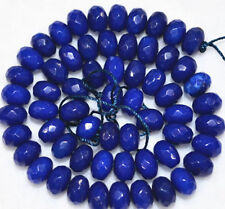 """5x8mm Faceted dark Blue Sapphire Gemstone abacus Loose Beads 15""""AAA"""