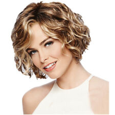 Women Fashion Short Blonde Synthetic Wig Hair Curly Wigs Full Wigs Bangs Cosplay