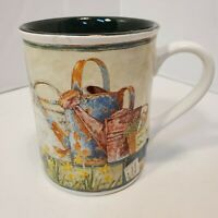 Old Watering Can Coffee Mug Ceramic Cup Green Garden Flowers