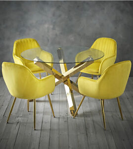 Dining set round glass table with gold legs and 4 yellow velvet dining chairs