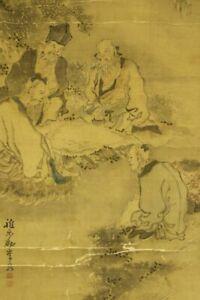 """JAPANESE HANGING SCROLL ART Painting """"Chinese wisemen"""" Saeki Ganryo  #E4626"""