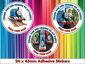 24 x Thomas The Tank Engine Personalised Birthday Party Stickers Sweet Bag Cones
