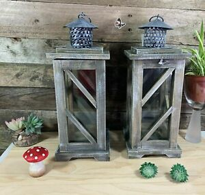 Set of 2 Vintage Rustic Wooden Lantern Candle Light Holder Home Decor GIFT