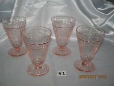 Set ~ 4 Mayfair Open Rose Pink Footed Water Tumblers~Glasses 1931-1937 Excellent