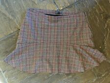 Ladies Primark Wool Mix Mini Skirt. Size 16 Brown And Red check VGC
