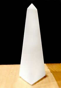 "Large Selenite Tower Polished "" Crystal Obelisk Natural Carved Pyramid Energy He"