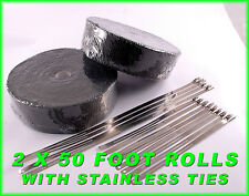 BLACK THERMAL EXHAUST PIPE HEADER WRAP 2 ROLLS 2 X 50 FT STAINLESS LOCKING TIES