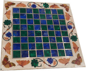 """20"""" Marble Top Coffee Table Lapis Malachite Mosaic Floral Inlay Arts Decors B918"""