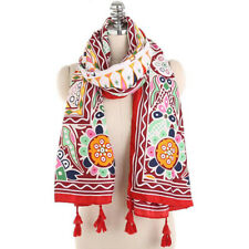 Soft Ladies Scarves Ethnic Style Flowers Pattern Tassel Scarf Soft Shawl B