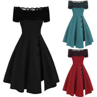Fashion Womens Casual Short Sleeve Strapless Lace Splicing Button Pleated Dress