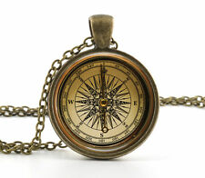 Vintage Compass Pendant Necklace Old Fashioned Antique Style Glass Photo Jewelry