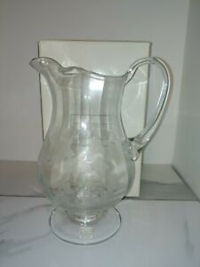 1997 Fifth Avenue Crystal Vintage 76oz Footed Pitcher Mouth Blown Hand Cut Optic