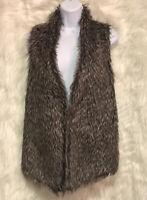 JOSEPH A Faux Fur Vest Brown Open Front Knit Back Sz L - EUC