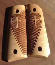 1911 Grips  Maple Laser engraved Tactical Checkered Cross Officer/Defender