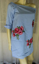 SIZE S ZARA WOMAN BLUE WHITE STRIPED SHIRT DRESS EMBROIDERED RED ROSES 💎