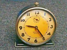 More details for vintage westclox retro alarm clock - wind up mechanism, in working order.