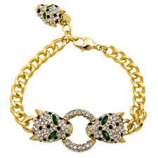 Butler and Wilson Crystal Leopard Head Ring GOLD Tone Chain Bracelet NEW
