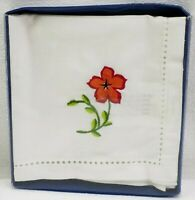 Mikasa Hand Embroidered Linen Cocktail Napkins Florama Floral Set of 4 New