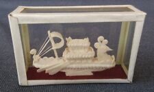 Vintage Small Hand Craved Soap Stone Chinese Long Boat in Case