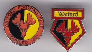 2 WATFORD HERTFORSHIRE ENGLAND OLD & NEW JOB LOT FOOTBALL BADGE SET
