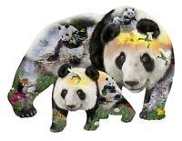 Sunsout - Panda Monium - Shaped 1000 piece jigsaw puzzle.