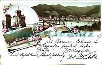 AK Rapallo,Ligurien,Italien,Litho,Hafenburg,Hotel Suisse,Ortsansicht,1897, 04/02
