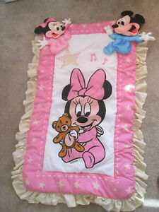 Vintage Disney Babies Crib Bedding Nursery Decor Comforter Wall Hangings Minnie