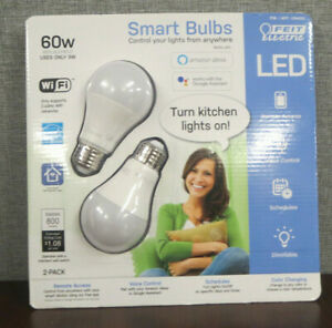 New-Sealed FEIT Electric Smart Wi-Fi LED Color Changing Dimmable 60W Bulbs 2-pk