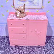 Mpc 1963 Nursery Dresser w/Fawn Vintage Miniature Dollhouse Furniture 1:16