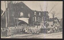 1906 POSTCARD UNIDENTIFIED FIRE DEPT STATION MEMBERS CELEBRATION