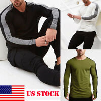 US Men's Fit Gym Long Sleeve T-Shirt Casual O Neck Tops Bodybuilding Muscle Tee