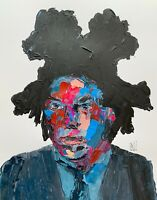 Original Abstract Portrait Jean Michel Basquiat Pop Art Palette Knife Painting
