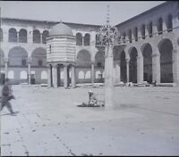 SYRIE Damas Mosquée des Omeyyades, NEGATIF Photo Stereo Plaque Verre ca 1920