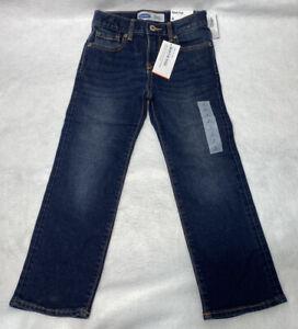 NWT Old Navy Boys Dark Wash Blue 100% Cotton Bootcut Adjustable Jeans Sz 6