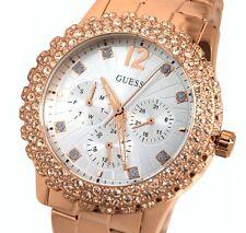 New Guess Women's  U0335L3 Rose Gold tone Crystals Bezel Silver Dial