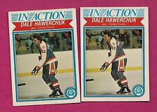 2 X 1982-83 OPC # 381 JETS DALE HAWERCHUK IN ACTION ROOKIE  CARD (INV# A3439)